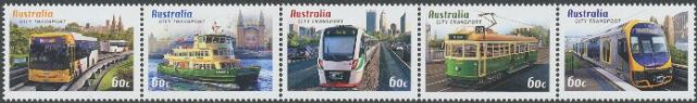 AUS SG3724a Capital City Transport strip of 5